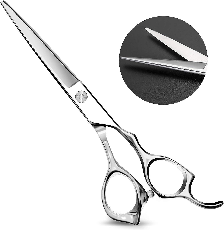 [LATEST 2021] Hair Scissors-Professional Barber Salon Hair Cutting Shears 6.5 inch Japanese Stainless Steel Haircut Scissors Sharp Durable Hair Trimming Scissors for Men Women Children Pets