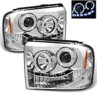 For Ford F250/F350/F450/F550 SuperDuty 05 Excursion Chrome Clear Dual Halo Ring LED Projector Headlights Pair