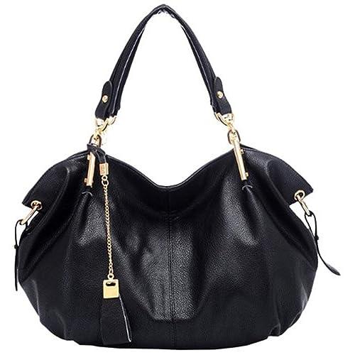5f59ff63ae1b Montmo Women Soft Leather Handbags Casual Simple Hobo Style Shoulder Bags  Tote Cross Body Purses