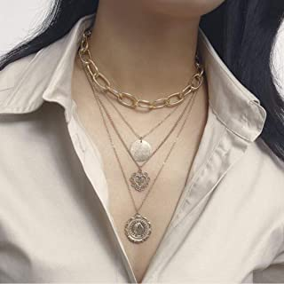 YERTTER Dainty Unique Punk Multi Layer Coin Heart Pendant Boho Jewelry Set Statement Chunky Necklace for Women Men