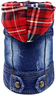 SILD Pet Clothes Dog Jeans Jacket Cool Blue Denim Coat Small Medium Dogs Lapel Vests Classic Hoodies Puppy Blue Vintage Washed Clothes