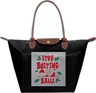 Christmas Baubles Stop Busting My Balls Waterproof Leather Folded Messenger Nylon Bag Travel Tote Hopping Folding School Handbags