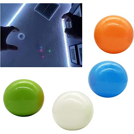 Stick to The Wall Fun Toy Luminescent Squishy Glow Stress Relief Toys for Kids Children and Adults Tear,Alleviating ADHD,Anxiety,Autism,45mm 4 PCS Luminous Stress Relief Balls Sticky Ball