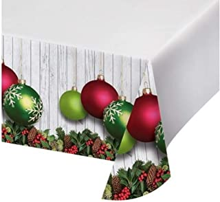 Heartfelt Gifts Christmas Tablecloth Disposable – Pack of 2 Plastic Rectangle Christmas Table Covers – for Holiday Parties and Winter Weddings