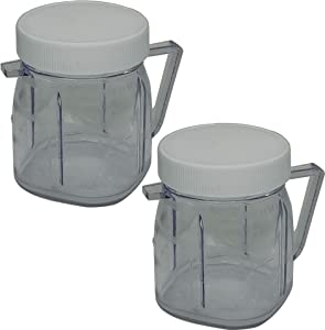 WUYAN 4937 Mini Blender Jar Accessory compatible with Oster, 1-Cup Mini Plastic Jars with lids Pack of 2 set (2)