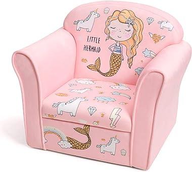 HONEY JOY Kids Sofa, Children Upholstered Armchair w/Linen Fabric and Wooden Frame, Toddler Cute Armrest Couch for Living Roo