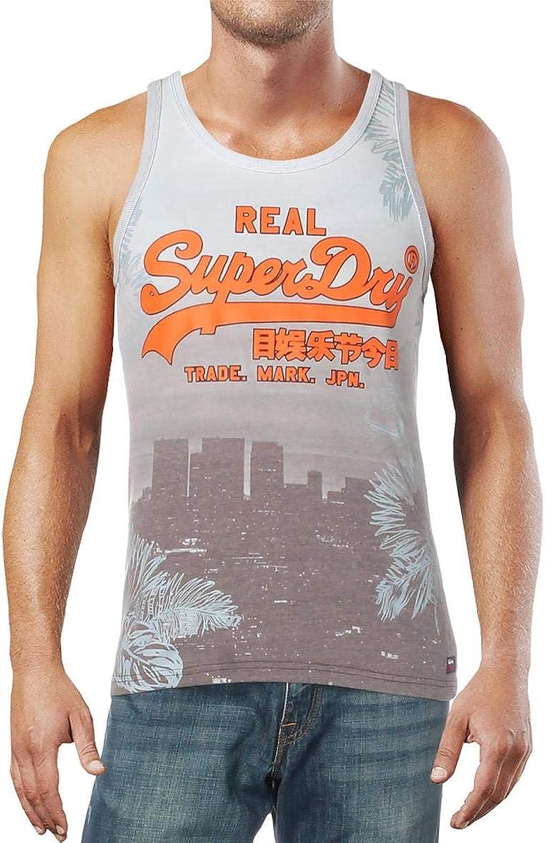 Superdry Mens Light Blue Logo Graphic Sleeveless Scoop Neck Tank Top 2XL