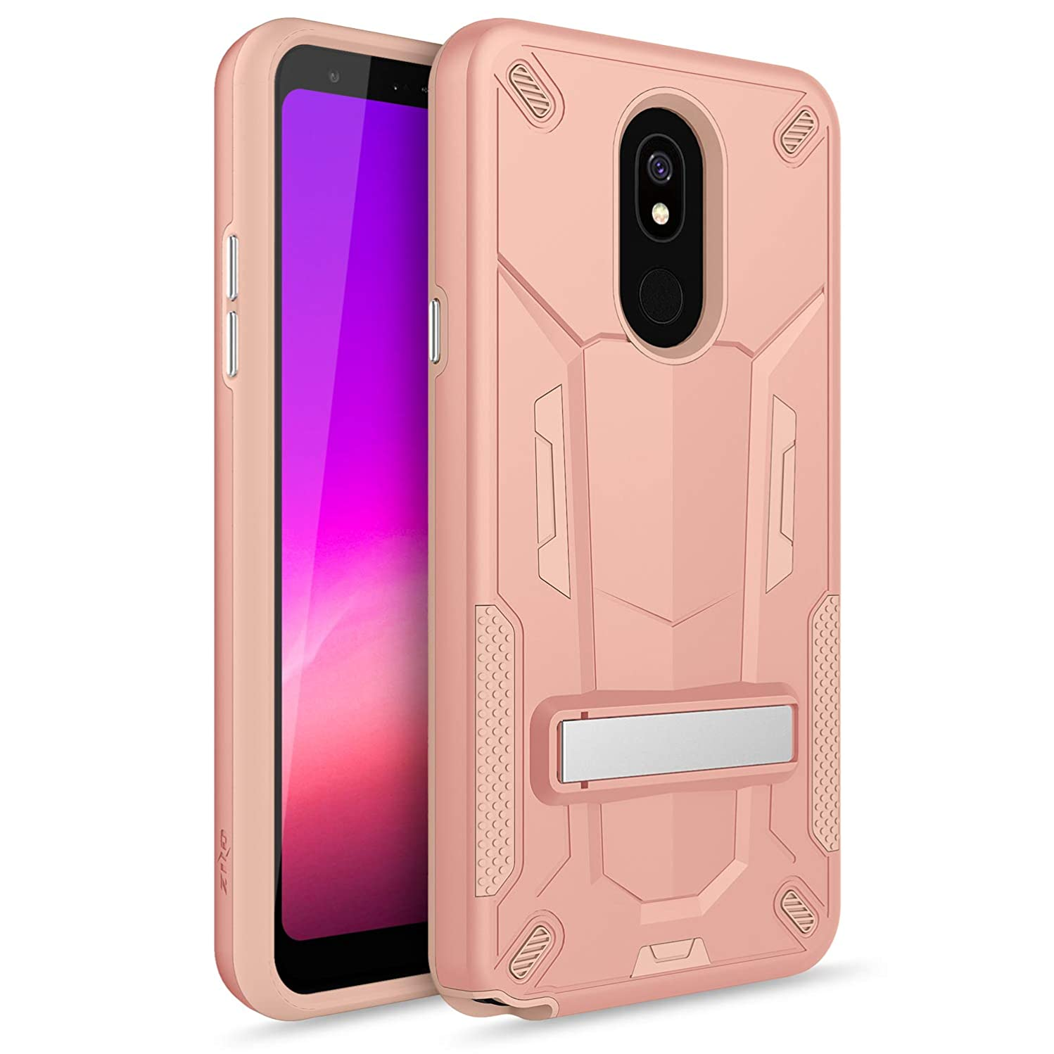 Zizo Transform Series Compatible with LG Stylo 5 Case Dual Layered with Built in Kickstand Slim and Shockproof Rose Gold Peach