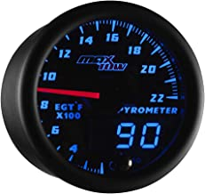 MaxTow Double Vision 2200 F Pyrometer Exhaust Gas Temperature EGT Gauge Kit - Includes Type K Probe - Black Gauge Face - Blue LED Dial - Analog & Digital Readouts - for Gas Trucks - 2-1/16