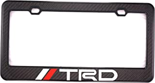 Qptimum TRD Sport Off Road Racing Carbon Fiber Stainless-Steel License Plate Frame Cover (1)