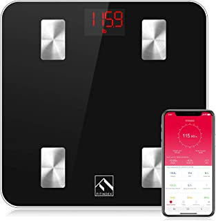 FITINDEX Smart Body Fat Scale, Digital BMI Weight Wireless Scale, Body Composition Monitor with Smartphone App for Body Weight, Body Fat, Muscle Mass, 396lbs - Black