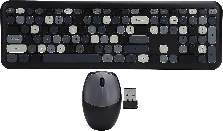 QiaNgshuAikj Wireless Keyboard Mouse Set, 2.4G Wireless 110 Comfortable Typing Wireless Keyboard, for Home Office Computers(Black)