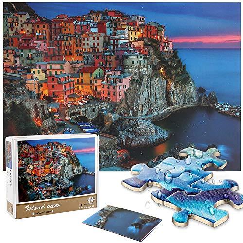 Puzzle 1000 Teile, Genhoo Puzzle für Erwachsene Kinder Klassische Puzzle Familie Geschicklichkeitsspiel Papppuzzles, Impossible Marvel Puzzle Bastleset, Lernspiele, Puzzle Landschaft (Village Puzzle)