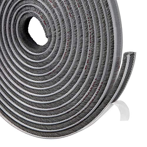 Felt Pile Weather Stripping 11/32 inch x 3/16 inch x 16 ft, Sliding Windows and Door Frame Side Brush Seal, Draft Stopper Soundproofing, Grey