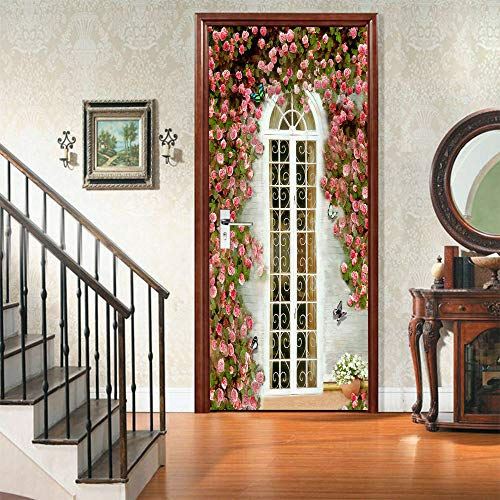 IDWX Pegatinas 3D para puerta y ventana, diseño de flores, se puede utilizar para decoración de puertas de dormitorio y sala de estar, 77 x 200 cm