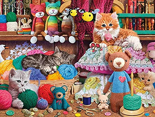 YIPINQUAN Jigsaw Puzzles 1000 Pieces for Adults and Kids Crochet Kittens Wooden Puzzle Educational Toys Home Decor Wall Art