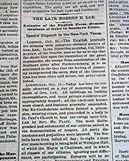 ROBERT E. LEE Civil War Confederate General COMMANDER Death 1870 Old Newspaper THE NEW YORK TIMES, Oct. 16, 1870