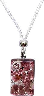 Murano Glass Rectangle Pendant Necklace-Purple