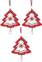 3 Pcs Wood Christmas Decorations Xmas Ornament Christmas Tree Painted Wood Tree Shape Baubles
