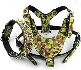 Kuntrona Large Dog Harness and Collar Set Spiked & Studded Leather Dog Pet Harness Collar for Pit Bull Mastiff Medium Large Dogs