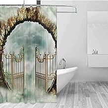 GloriaJohnson Mystic Rustic Shower Curtain Vintage Gate Dreamy Castle Cloth Fabric Bathroom Decor W72 x L72 Inch