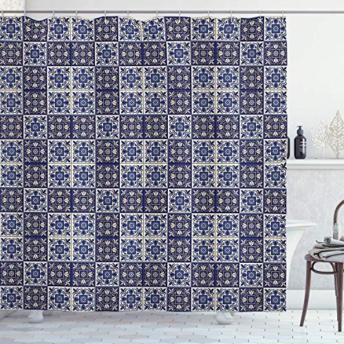 N\A Marokkanischer Duschvorhang, Quadrate mit portugiesischen Azulejo-Ornamenten Arrangement Blumenmuster Blätter, Stoff Stoff Badezimmer Dekor Set mit Haken, Marineblau