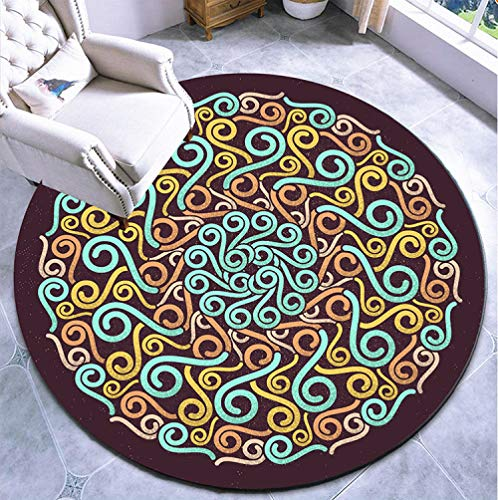 LANGNIU The diameter of 1.8m/2m Bohemian ethnic style round carpet coffee table cushion bedroom bedside round floor mat-Turmeric A017_140 cm in diameter