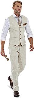 High-End Suits Casual Linen Beige Men's 2 Piece Suits Wedding Suits Slim Fit Groomsmen Tuxedos Prom Blazer Custom Summer Linen Vest+Pant