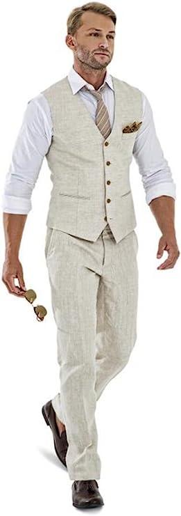 Men's Vintage Clothing | Retro Clothing for Men Casual Linen Beige Mens 2 Piece Suits Wedding Suits Slim Fit Groomsmen Tuxedos Prom Blazer Custom Summer Linen Vest+Pant  AT vintagedancer.com