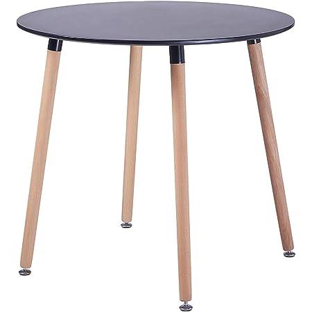 H.J WeDoo Table Ronde Salle à Manger Scandinave Design Noir en Bois 80 x 80 x 75 cm