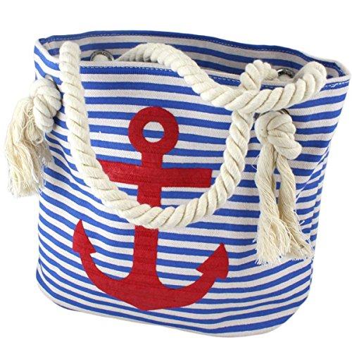 Sonia Originelli XS Shopper Anker Sarah Einkaufstasche Tasche Maritim Farbe Blau-Rot