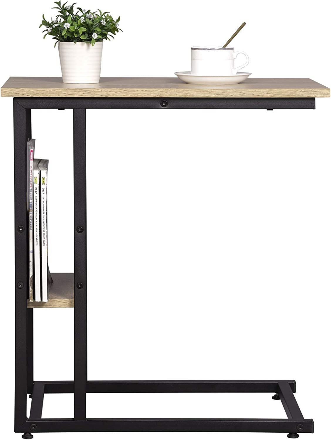 eSituro Light Oak End Table Console Sofa Table with shelf storage Beside Table Side Table Small Bedroom Table Wood Metal Legs Living Room SCD0081