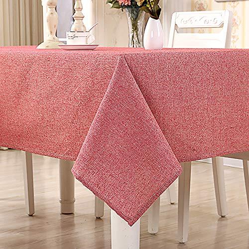 Yuanyou Mantel de algodón, simple mantel liso, mantel de mesa de té, mantel rectangular para el hogar (rojo), Rojo, 140x250cm