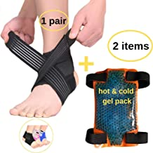 BodyMoves Kid's Ankle Brace Support Plus Hot and Cold Ice Pack (Sporty Black, MED for Big Kids (US 3.5-7))