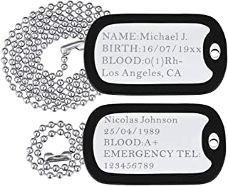 Custom Engraved Medical Alert ID Dog Tag Necklace Pendant with Stainless Steel Chain 23
