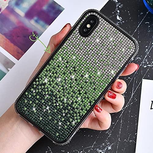 Custodia glitterata di lusso per iPhone SE 2020 per iPhone 11 Pro Max XS Max XR 6S Plus 7 Plus 8 Plus Custodia anti-caduta per telefono con strass, verde, per iPhone 11 Pro