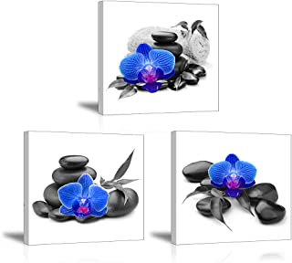 Flower Wall Decor for Bedroom, SZ Still Life Canvas Art Prints of Blue Orchid Flowers & Stones Grey Background, Beautiful Floral Pictures (Waterproof Artwork, 1