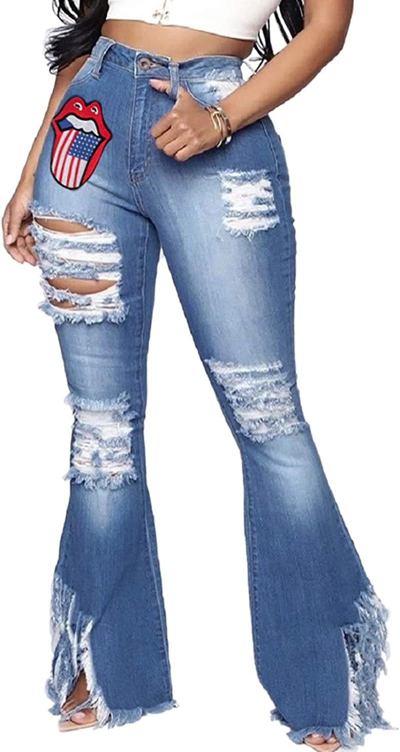 Women's Bell Bottom Jeans Ripped Denim Limited time trial price Pants Classic Hole Flare OFFicial store