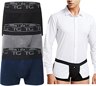 TELALEO Men's Shirt Stays Underwear Non-slip Adjustable Elastic for police Cotton Boxer Brief Shirt Stays for men