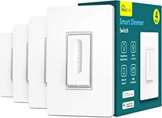 Smart Dimmer Switch, Treatlife WiFi Light Switch for Dimmable LED/Halogen/Incandescent Bulbs, Compatible with Alexa, Google Assistant/IFTTT, Remote Control, Single-Pole, Neutral Wire Required (4 PACK)