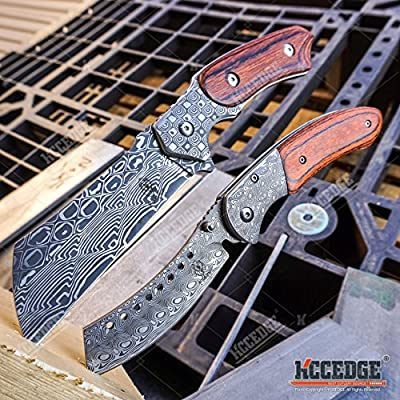 """WarTech BUCKSHOT KNIVES 2 PC Cleaver Combo HIKING FOREST Etched Damascus Set 8.75"""" CLEAVER FIXED BLADE + 8"""" SHAVER STYLE Folding Blade CAMPING HUNTING KNIFE"""