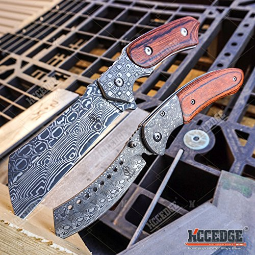 Wartech Buckshot Knives 2 PC Cleaver Combo Hiking Forest Etched Damascus Set 8.75' Cleaver Fixed Blade + 8' Shaver Style Folding Blade Camping Hunting Knife (Combo 1)