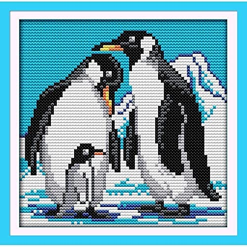OTBKNB Kits de Punto de Cruz Pingüinos bajo la montaña Nevada Patrón preimpreso Kits de Inicio de Bordado contado para Principiantes Niños y Adultos Decoración del hogar (40x50cm)