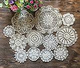 MINDPLUS Set of 12 Hand Crochet Doilies Cotton Crocheted Lace Doilies 4-10 Inches Round Beige (12pcs beige)