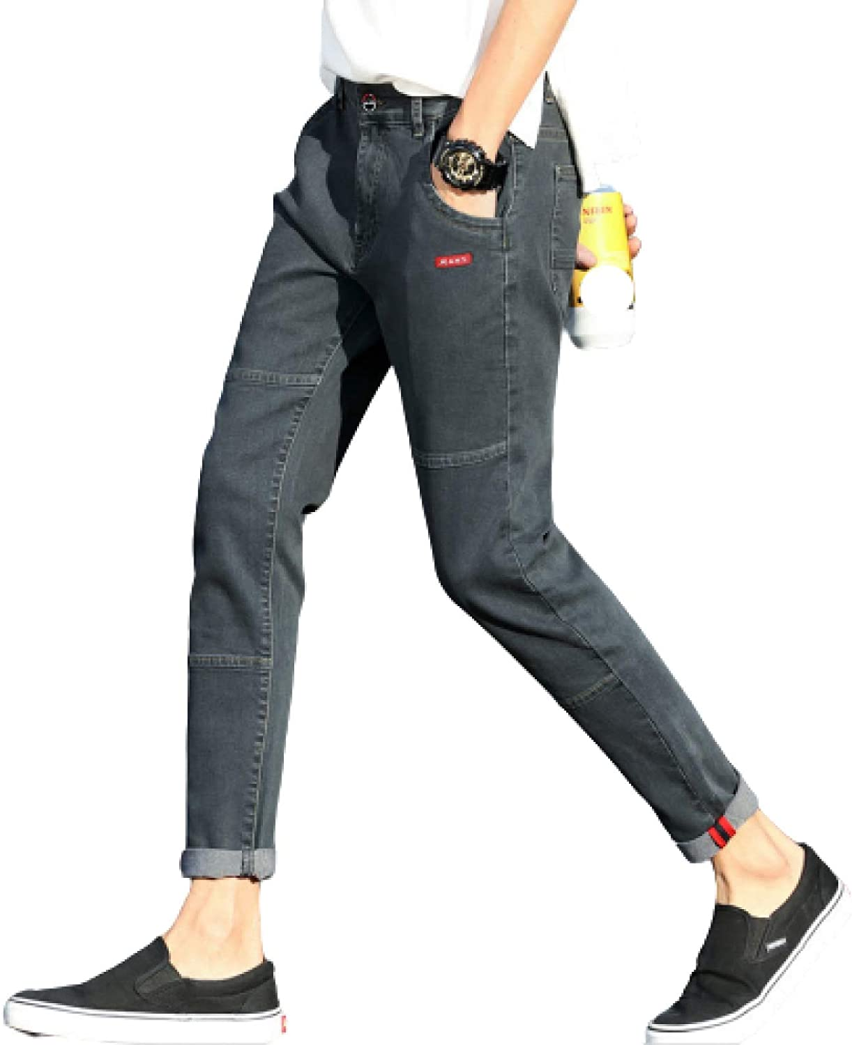 Wantess Max 76% 4 years warranty OFF Men's Fashion Jeans PatchworkStitching Large Taper Size