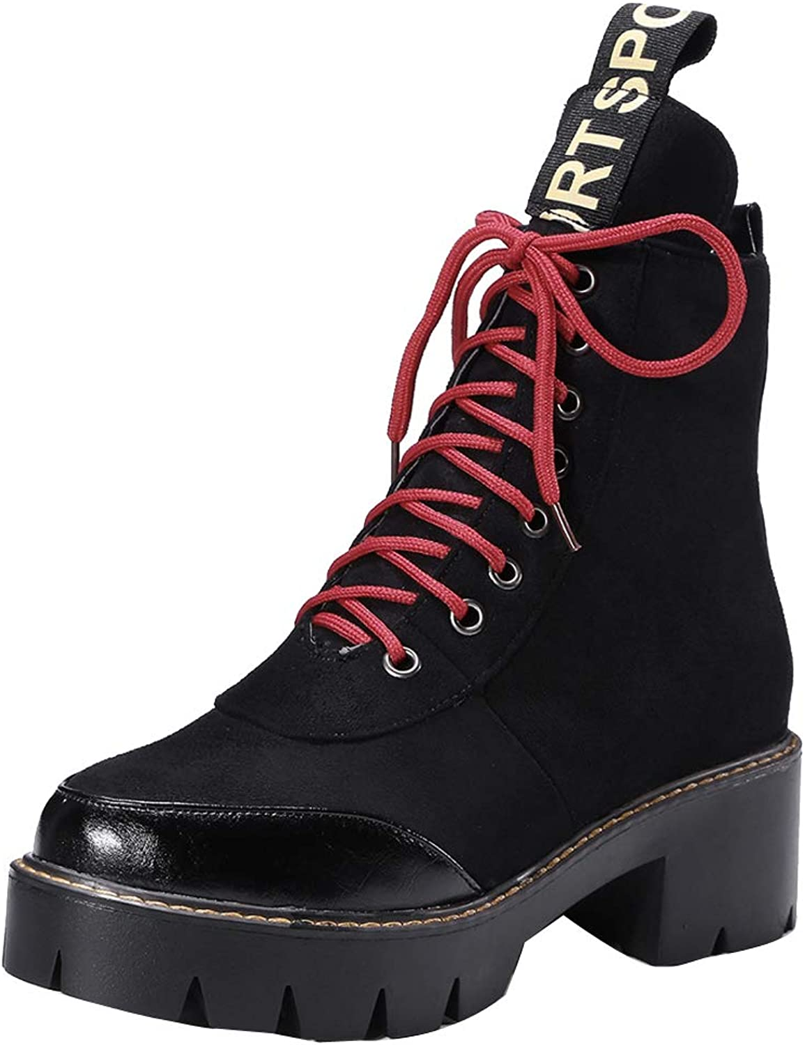 Themost Women's Ankle Boots Round Toe Lase-up Martin Boot Ladies Suede Winter Combat Booties