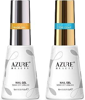 AZUREBEAUTY No Wipe Top Coat and Base Coat Set, 10ml 2 Bottles Soak Off Gel Nail Polish Glossy and Shiny Finish for DIY Nail Beauty at Home Nail Art