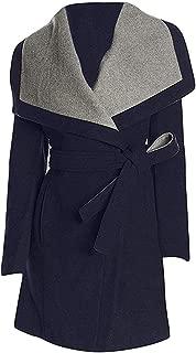 Women's Navy Belted Wrap Coat