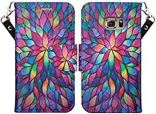 GALAXY WIRELESS for Galaxy S7 Case with Wallet, Samsung Galaxy S7 Wallet Case, Flip Folio [Kickstand Feature] Pu Leather Wallet Case with ID Slots for S7 Phone Case - Rainbow