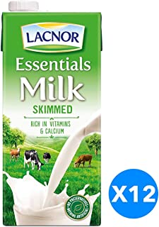 Lacnor Milk Skimmed - 1 Litre (Pack of 12)